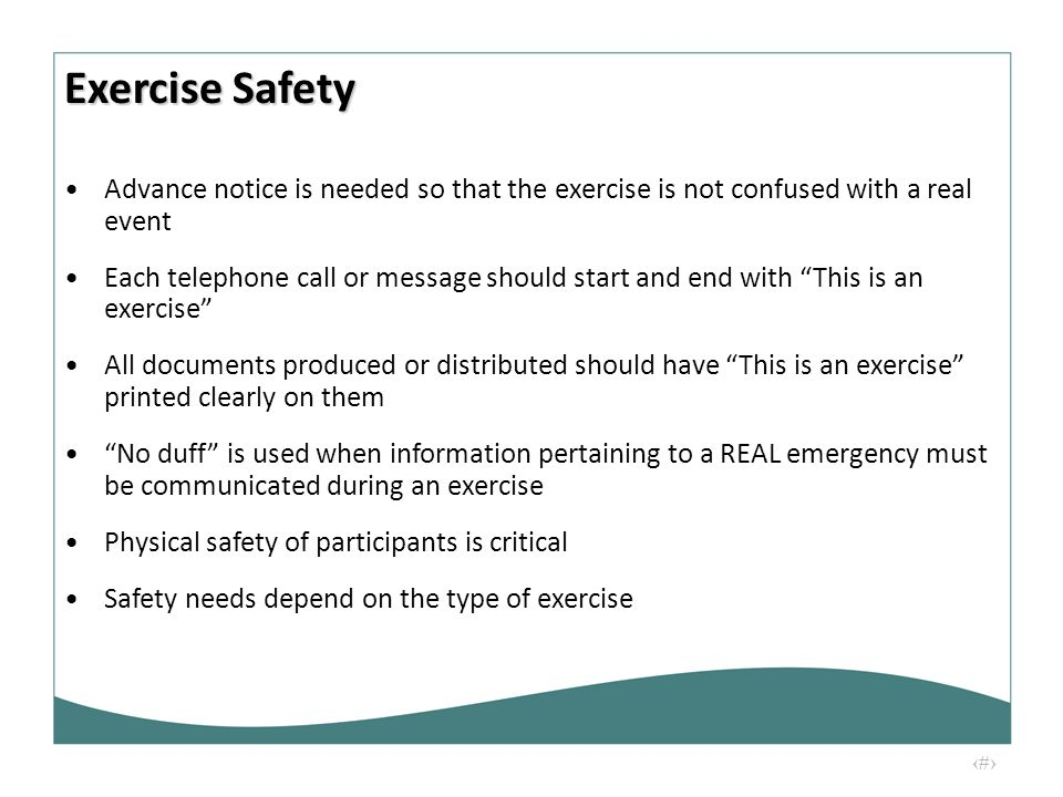 "17 Advance notice is needed so that the exercise is not confused with a real event Each telephone call or message should start and end with ""This is a"