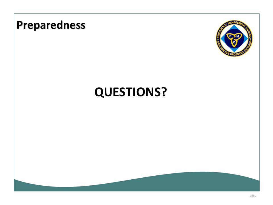 26 QUESTIONS? Preparedness