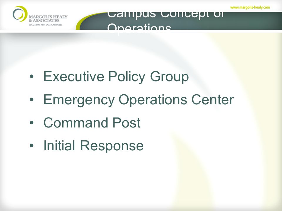 Campus Concept of Operations Executive Policy Group Emergency Operations Center Command Post Initial Response