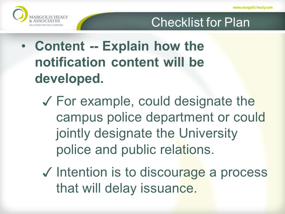 Checklist for Plan Content -- Explain how the notification content will be developed.