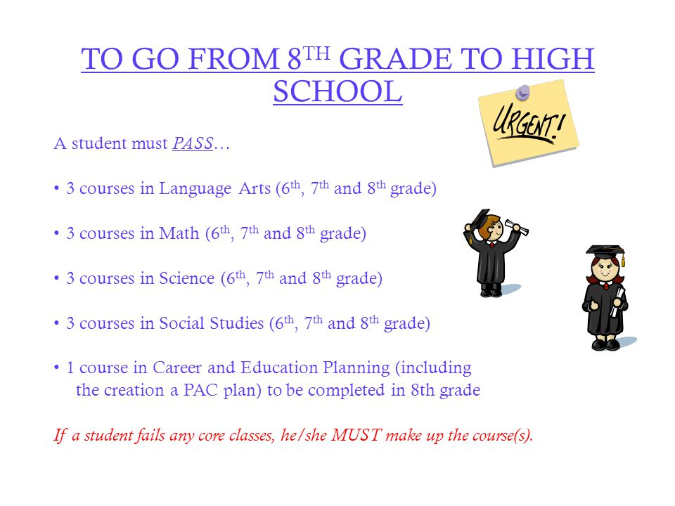 TO GO FROM 8 TH GRADE TO HIGH SCHOOL A student must PASS … 3 courses in Language Arts (6 th, 7 th and 8 th grade) 3 courses in Math (6 th, 7 th and 8 th grade) 3 courses in Science (6 th, 7 th and 8 th grade) 3 courses in Social Studies (6 th, 7 th and 8 th grade) 1 course in Career and Education Planning (including the creation a PAC plan) to be completed in 8th grade If a student fails any core classes, he/she MUST make up the course(s).
