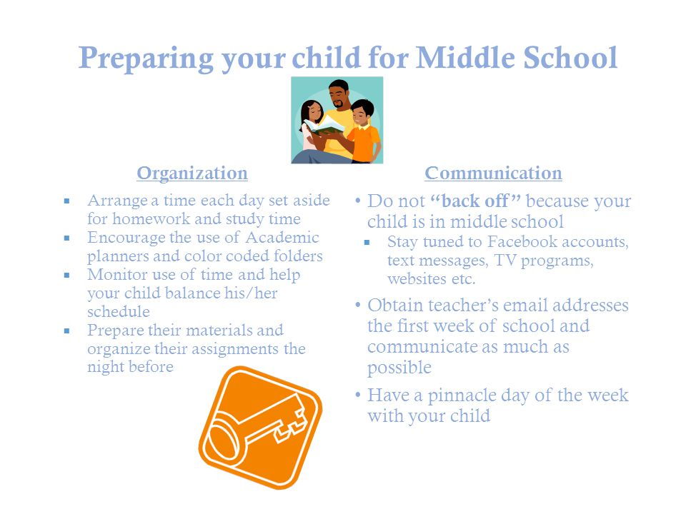 Preparing your child for Middle School Organization  Arrange a time each day set aside for homework and study time  Encourage the use of Academic planners and color coded folders  Monitor use of time and help your child balance his/her schedule  Prepare their materials and organize their assignments the night before Communication Do not back off because your child is in middle school  Stay tuned to Facebook accounts, text messages, TV programs, websites etc.