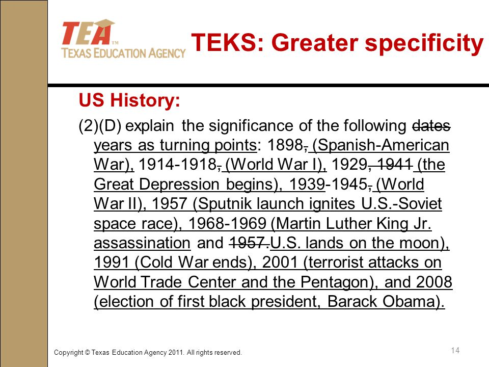 TEKS: Greater specificity US History: (2)(D) explain the significance of the following dates years as turning points: 1898, (Spanish-American War), 1914-1918, (World War I), 1929, 1941 (the Great Depression begins), 1939-1945, (World War II), 1957 (Sputnik launch ignites U.S.-Soviet space race), 1968-1969 (Martin Luther King Jr.