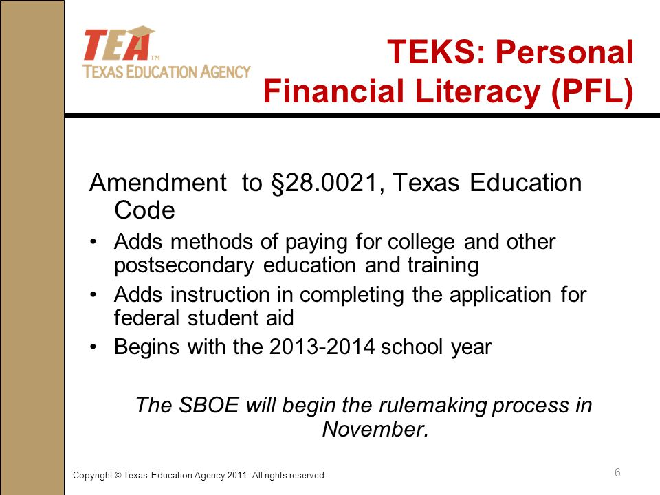 Copyright © Texas Education Agency 2011.All rights reserved.
