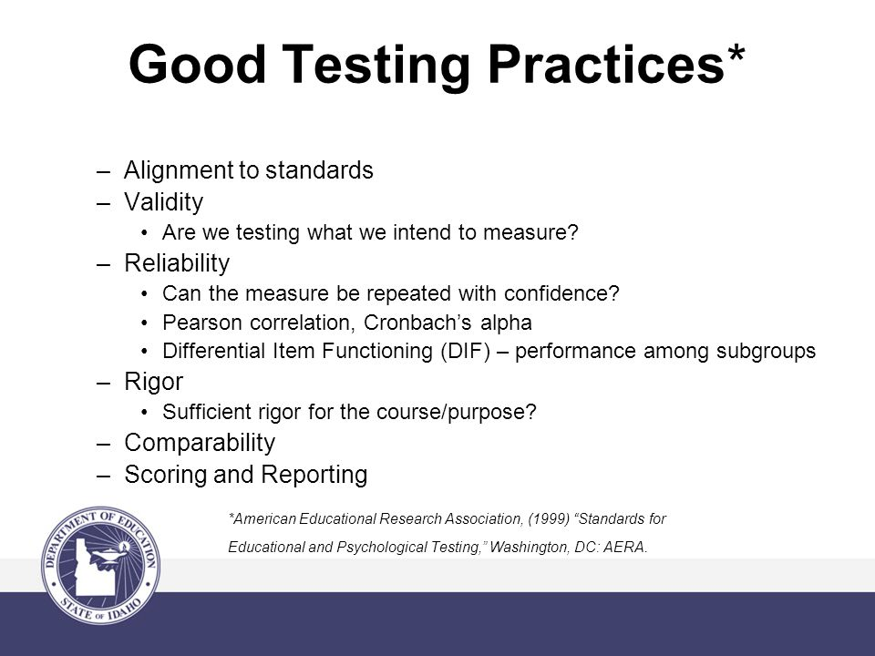 Good Testing Practices* –Alignment to standards –Validity Are we testing what we intend to measure.