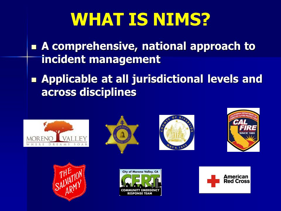A comprehensive, national approach to incident management A comprehensive, national approach to incident management Applicable at all jurisdictional l