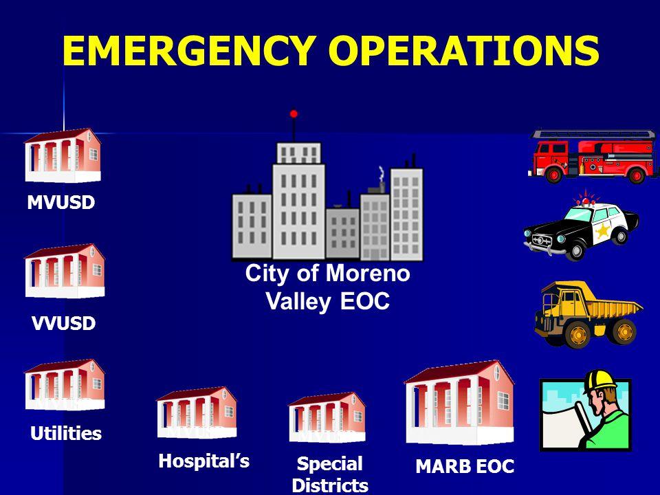 MVUSD City of Moreno Valley EOC MVUSD MARB EOC VVUSD Special Districts MVUSD Hospital's MVUSD Utilities EMERGENCY OPERATIONS