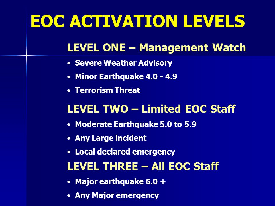 LEVEL ONE – Management Watch Severe Weather Advisory Minor Earthquake 4.0 - 4.9 Terrorism Threat LEVEL TWO – Limited EOC Staff Moderate Earthquake 5.0
