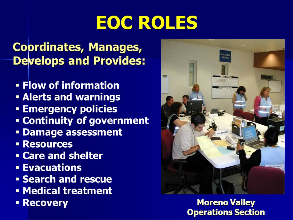   Flow of information   Alerts and warnings   Emergency policies   Continuity of government   Damage assessment   Resources   Care and s