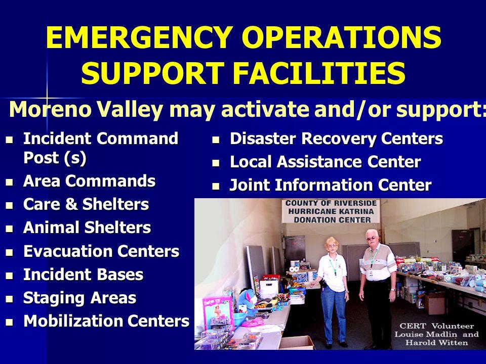 Incident Command Post (s) Incident Command Post (s) Area Commands Area Commands Care & Shelters Care & Shelters Animal Shelters Animal Shelters Evacua