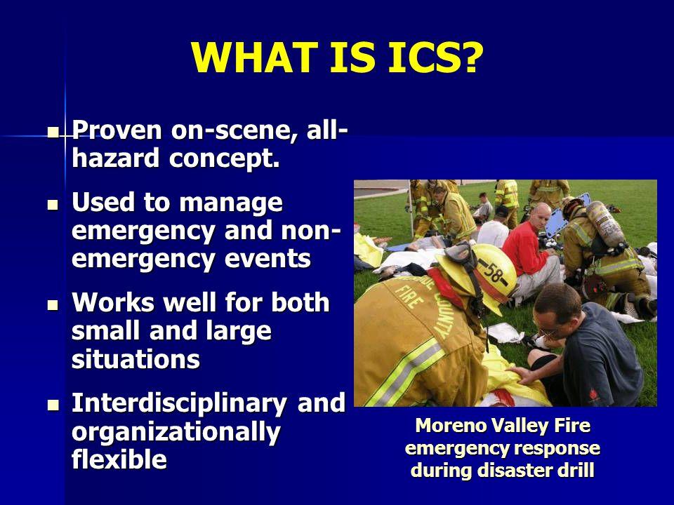 Proven on-scene, all- hazard concept. Proven on-scene, all- hazard concept. Used to manage emergency and non- emergency events Used to manage emergenc