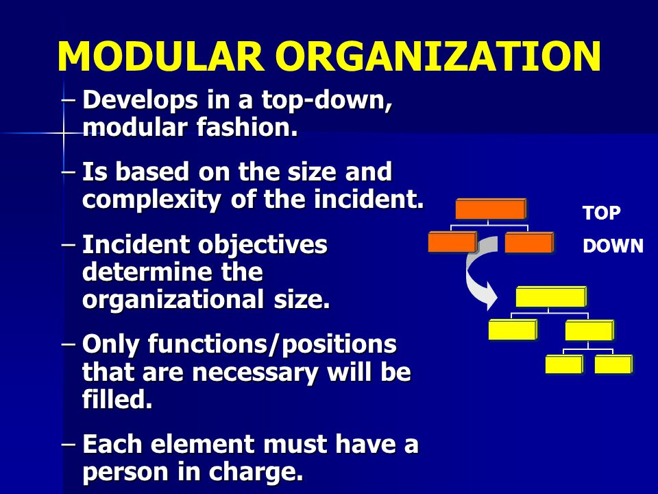 –Develops in a top-down, modular fashion. –Is based on the size and complexity of the incident. –Incident objectives determine the organizational size