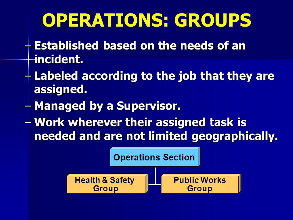 –Established based on the needs of an incident. –Labeled according to the job that they are assigned. –Managed by a Supervisor. –Work wherever their a