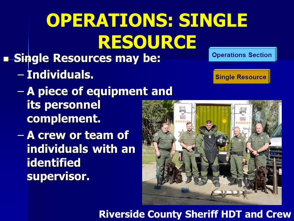 Single Resource Operations Section Single Resources may be: Single Resources may be: –Individuals. –A piece of equipment and its personnel complement.