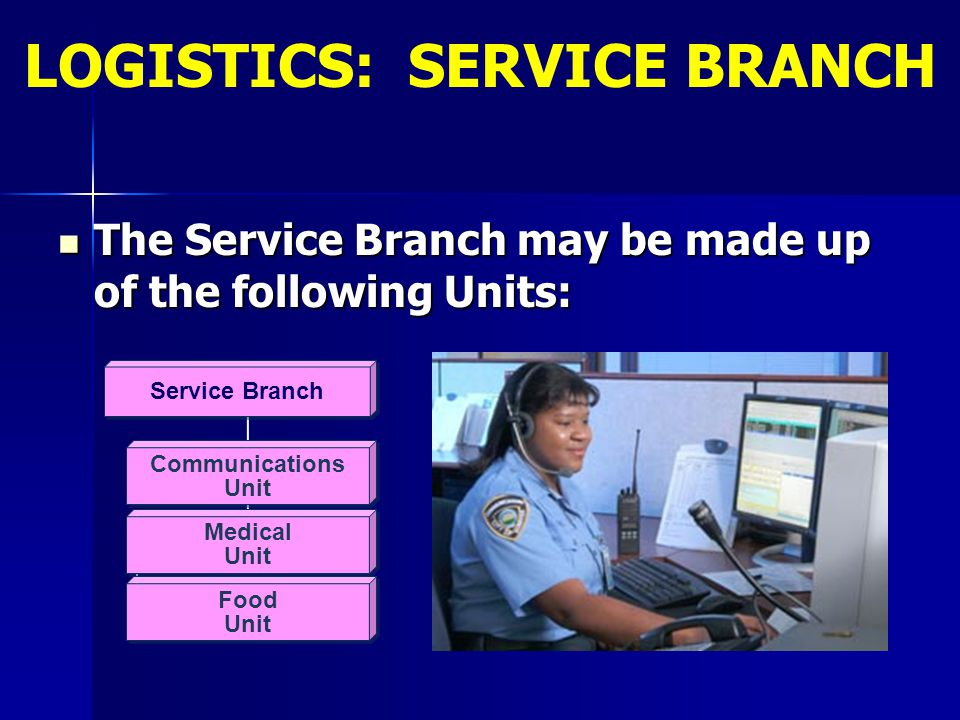 The Service Branch may be made up of the following Units: The Service Branch may be made up of the following Units: Communications Unit Communications
