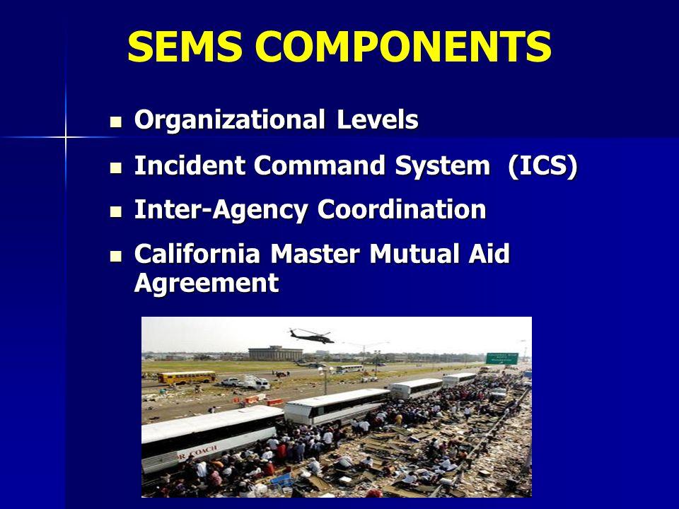 Organizational Levels Organizational Levels Incident Command System (ICS) Incident Command System (ICS) Inter-Agency Coordination Inter-Agency Coordin