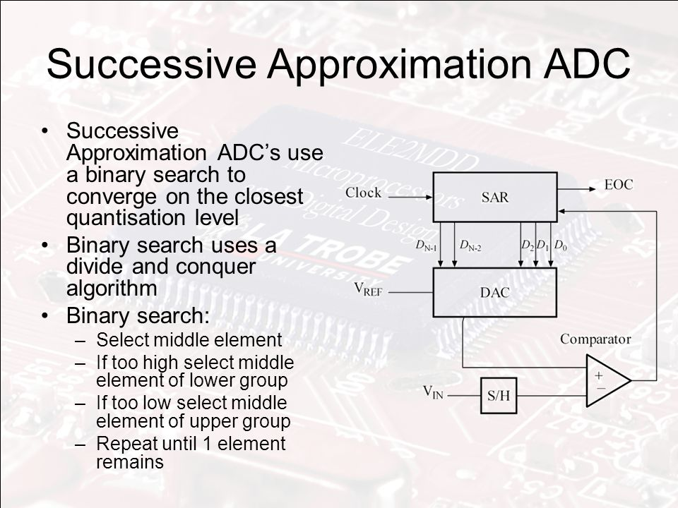 Successive Approximation ADC Successive Approximation ADC's use a binary search to converge on the closest quantisation level Binary search uses a divide and conquer algorithm Binary search: –Select middle element –If too high select middle element of lower group –If too low select middle element of upper group –Repeat until 1 element remains