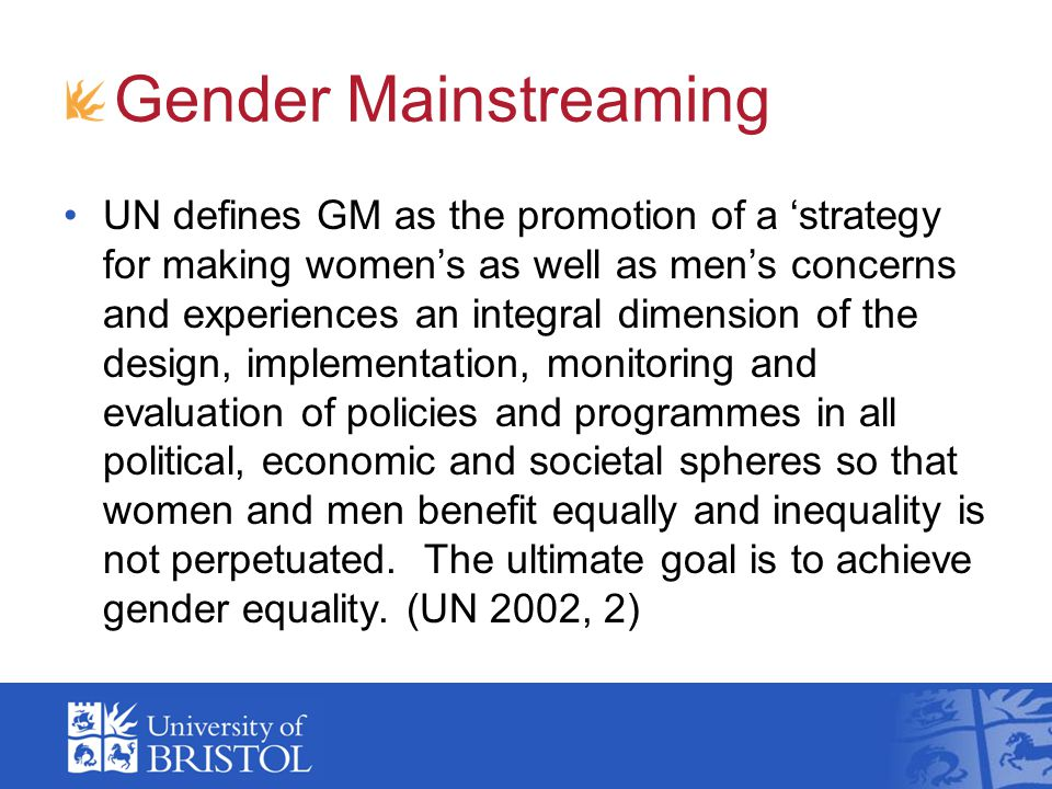 Gender Equality Three phases of gender equality policies: Equal treatment 1970s: anti-discrimination laws, with male comparator Positive action 1980s: special measures, recognition of specificity Gender mainstreaming 1990s: counteract gender bias in institutional practices