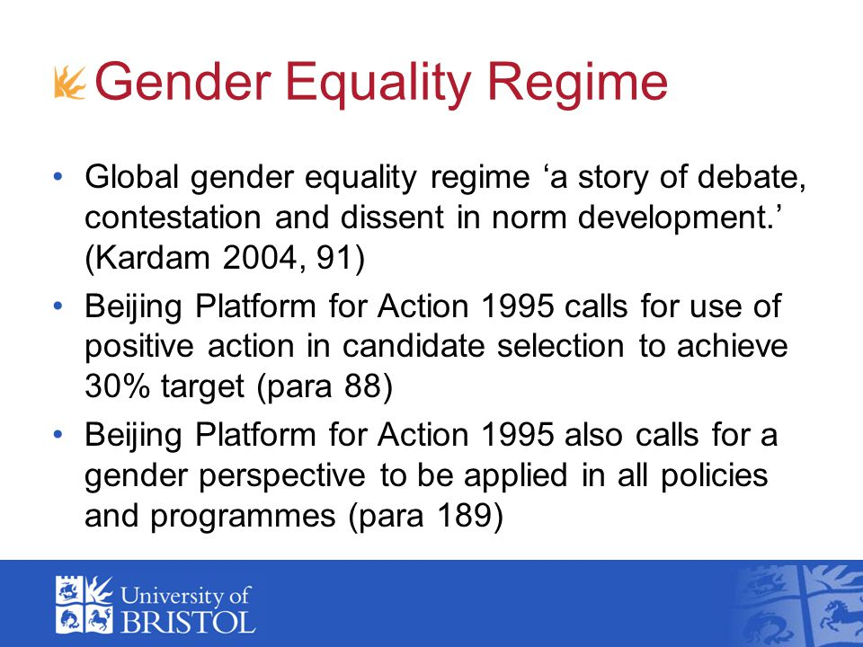 Four phases of gender equality policies Equal treatment 1970s: anti-discrimination laws, male comparator Positive action 1980s: special measures, recognition of women's specificity Gender mainstreaming 1990s: counteract gender bias in institutional practices Multiple inequalities 2000s: acknowledgement of multiple inequality strands and of cumulative discrimination
