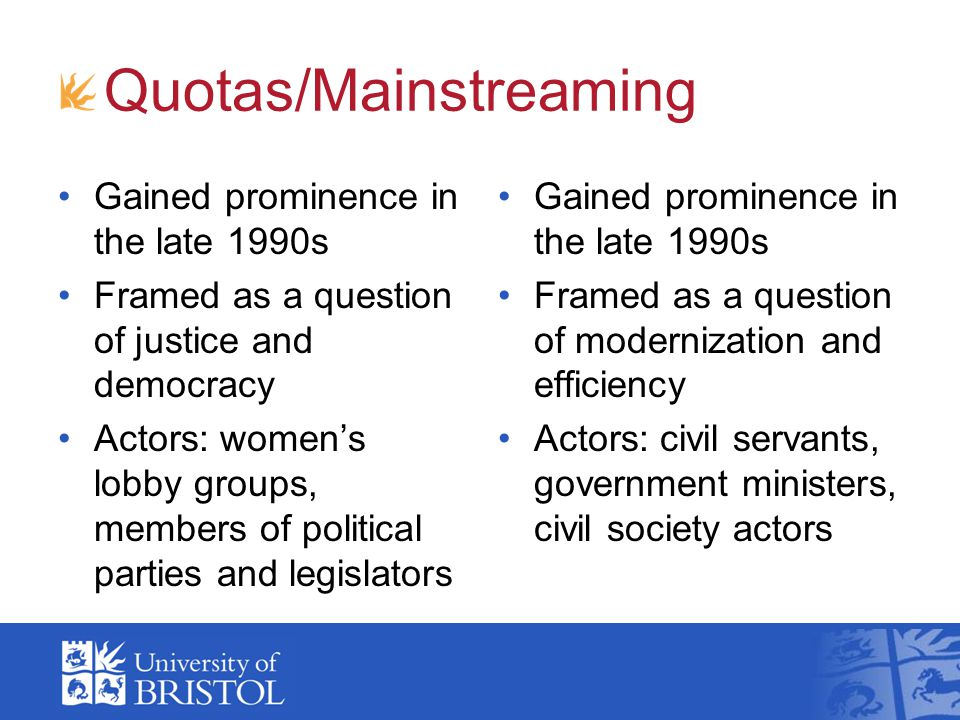 Quotas/Mainstreaming Politics: narrow focus on formal institutions of political representation Representation: focus on descriptive Gender: focus on sex as subject of policy Politics: wide focus including bureaucracy and civil society Representation: focus on substantive Gender: focus on gender as object of policy