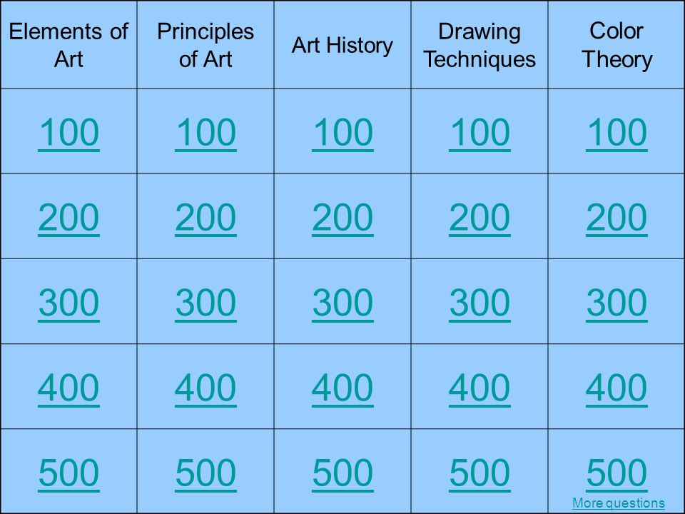 Elements of Art Principles of Art Art History Drawing Techniques Color Theory 100 200 300 400 500 More questions