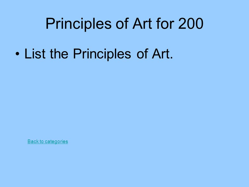 Principles of Art for 300 An area of a composition which stands out from the rest is… Back to categories