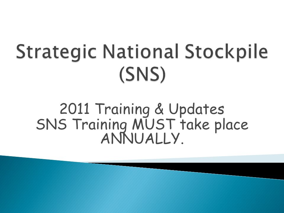 2011 Training & Updates SNS Training MUST take place ANNUALLY.