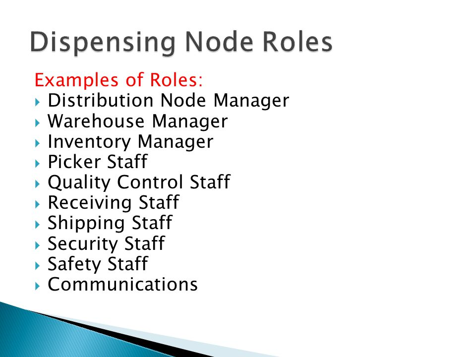 Examples of Roles:  Distribution Node Manager  Warehouse Manager  Inventory Manager  Picker Staff  Quality Control Staff  Receiving Staff  Ship