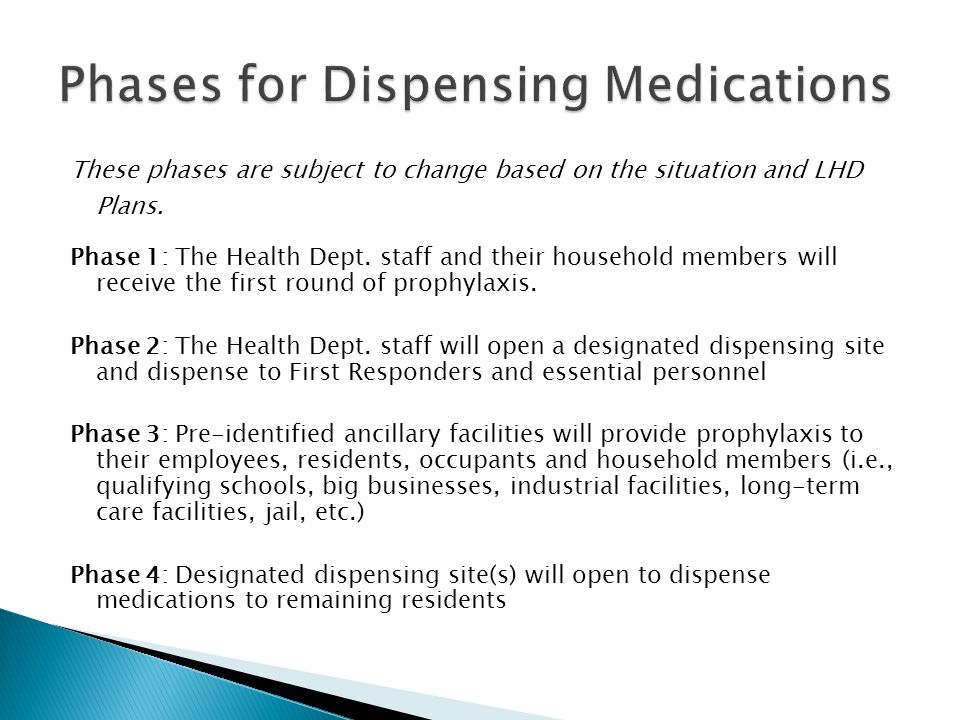 These phases are subject to change based on the situation and LHD Plans. Phase 1: The Health Dept. staff and their household members will receive the