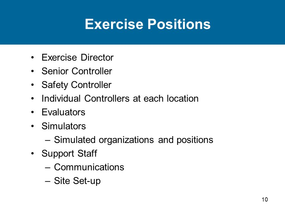 10 Exercise Positions Exercise Director Senior Controller Safety Controller Individual Controllers at each location Evaluators Simulators –Simulated organizations and positions Support Staff –Communications –Site Set-up