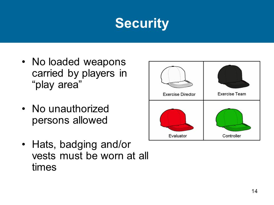 14 Security No loaded weapons carried by players in play area No unauthorized persons allowed Hats, badging and/or vests must be worn at all times