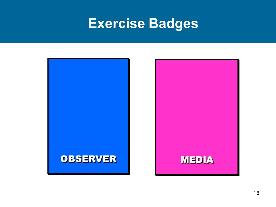 19 Exercise Badges SIMULATOR SUPPORT STAFF PLAYER