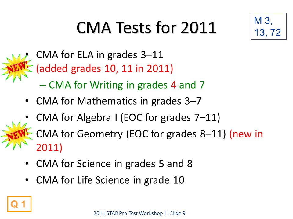CMA Tests for 2011 CMA for ELA in grades 3–11 (added grades 10, 11 in 2011) – CMA for Writing in grades 4 and 7 CMA for Mathematics in grades 3–7 CMA for Algebra I (EOC for grades 7–11) CMA for Geometry (EOC for grades 8–11) (new in 2011) CMA for Science in grades 5 and 8 CMA for Life Science in grade 10 M 3, 13, 72 2011 STAR Pre-Test Workshop || Slide 9 Q 1