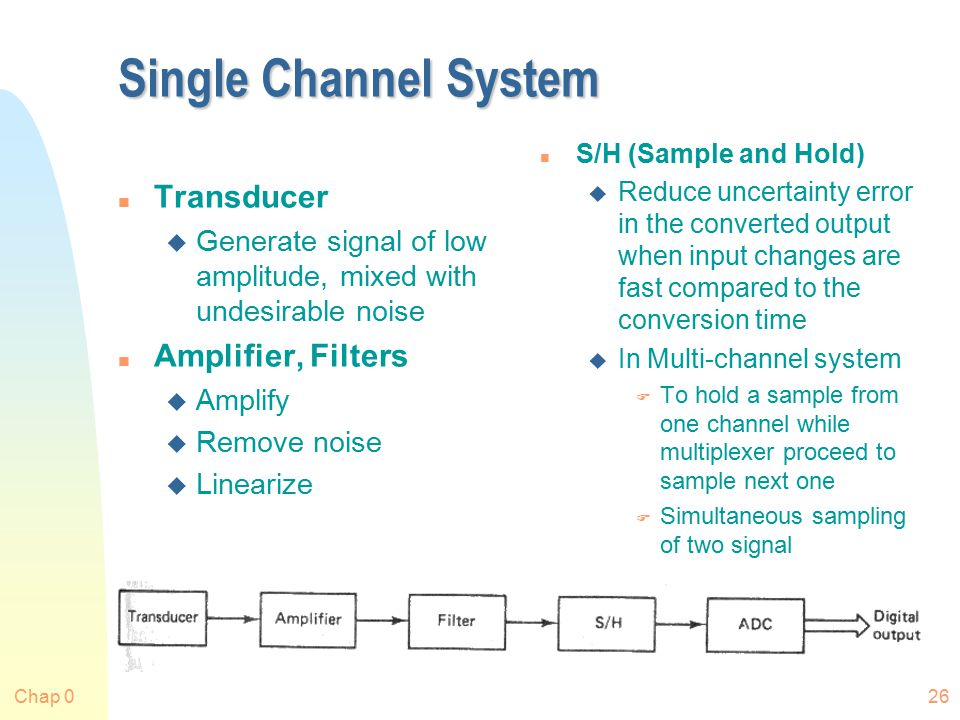 Chap 026 Single Channel System n Transducer u Generate signal of low amplitude, mixed with undesirable noise n Amplifier, Filters u Amplify u Remove noise u Linearize n S/H (Sample and Hold) u Reduce uncertainty error in the converted output when input changes are fast compared to the conversion time u In Multi-channel system F To hold a sample from one channel while multiplexer proceed to sample next one F Simultaneous sampling of two signal