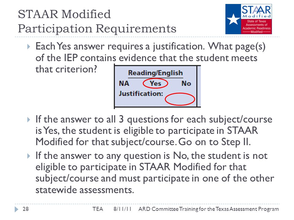 STAAR Modified Participation Requirements  Each Yes answer requires a justification.