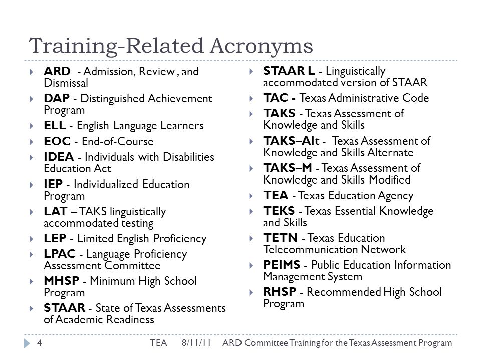 STAAR Modified Participation Requirements  For each subject/course for which STAAR Modified is being considered, answer Yes or No to 3 questions: 25TEA 8/11/11 ARD Committee Training for the Texas Assessment Program