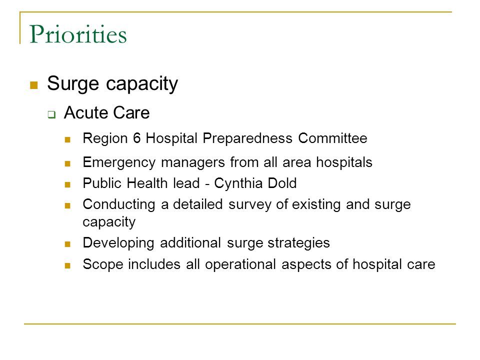Priorities Surge capacity  Acute Care Region 6 Hospital Preparedness Committee Emergency managers from all area hospitals Public Health lead - Cynthia Dold Conducting a detailed survey of existing and surge capacity Developing additional surge strategies Scope includes all operational aspects of hospital care