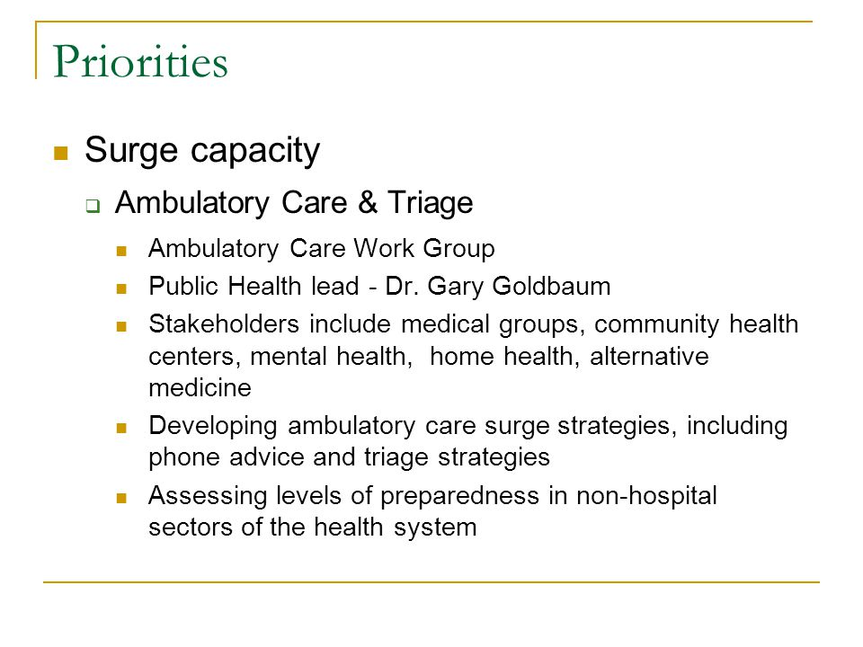 Priorities Surge capacity  Ambulatory Care & Triage Ambulatory Care Work Group Public Health lead - Dr.