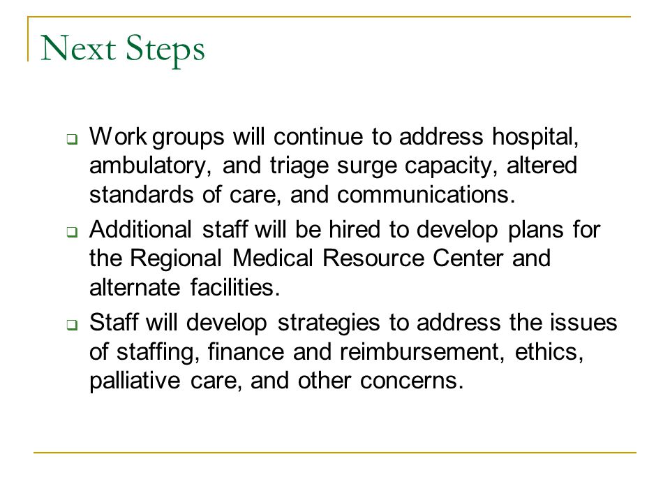 Next Steps  Work groups will continue to address hospital, ambulatory, and triage surge capacity, altered standards of care, and communications.