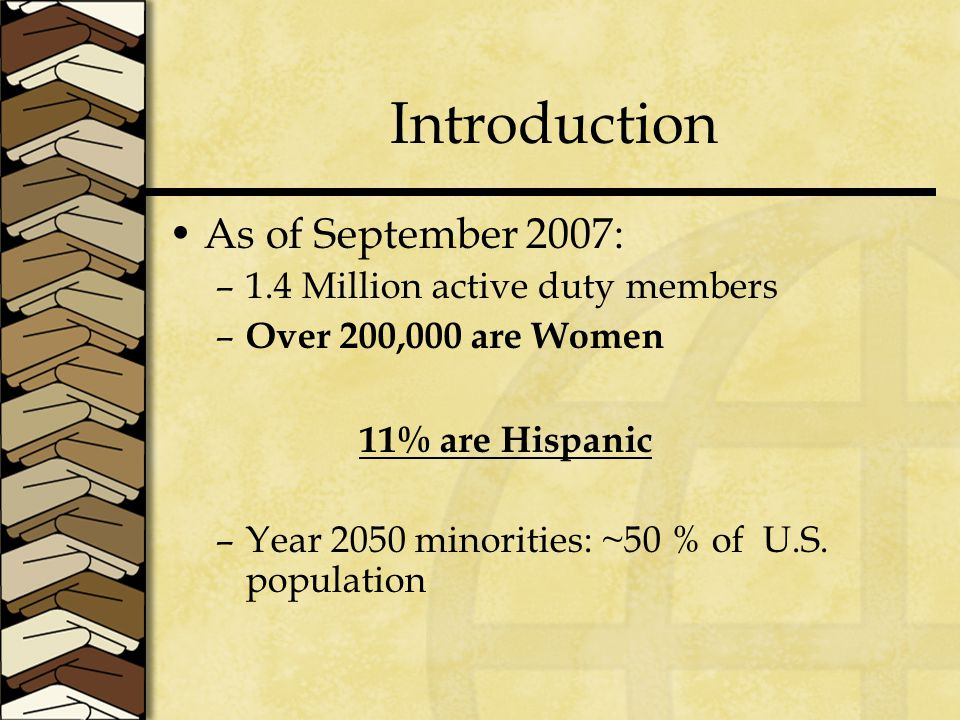 Discussion Need to explore methods to improve the perceptions of EOC for Hispanic enlisted women.