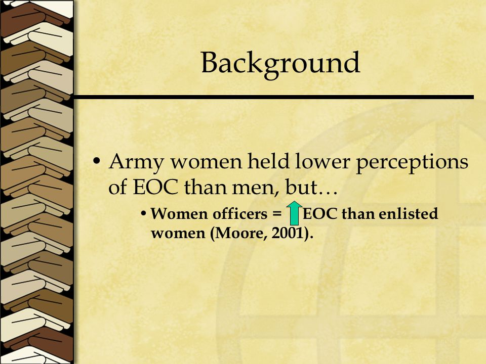 Background Army women held lower perceptions of EOC than men, but… Women officers = EOC than enlisted women (Moore, 2001).