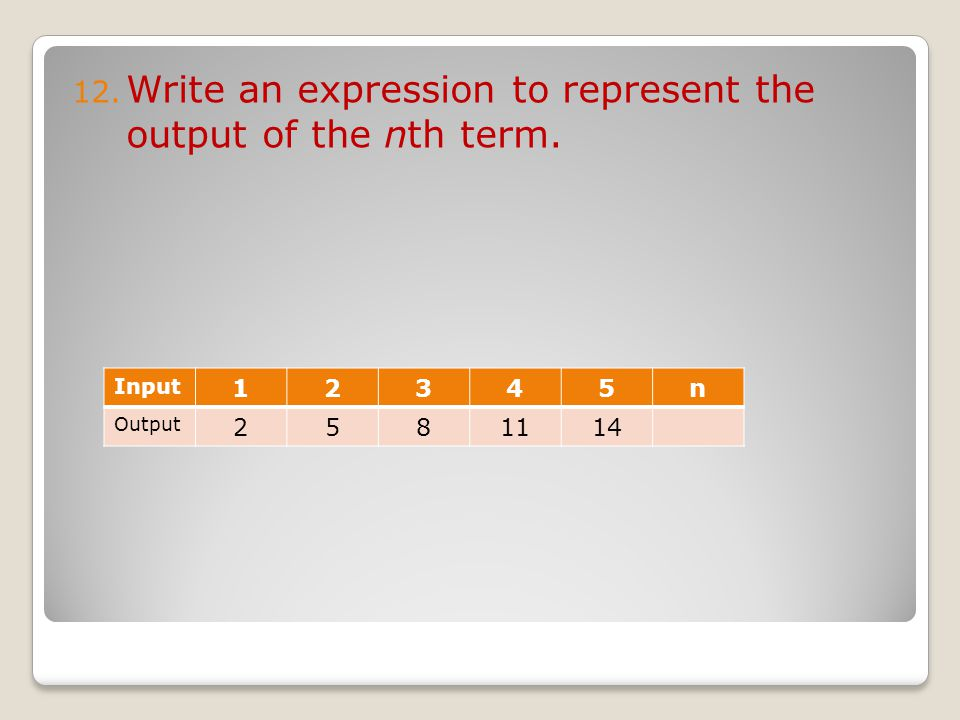 12. Write an expression to represent the output of the nth term. Input 12345n Output 2581114