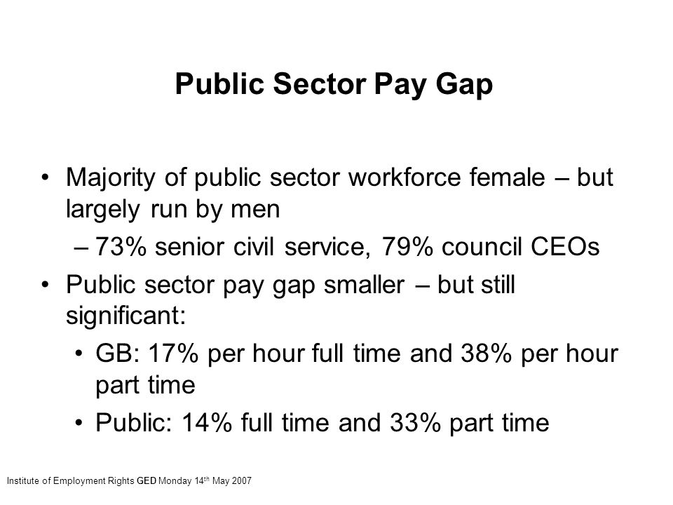 Majority of public sector workforce female – but largely run by men –73% senior civil service, 79% council CEOs Public sector pay gap smaller – but still significant: GB: 17% per hour full time and 38% per hour part time Public: 14% full time and 33% part time Institute of Employment Rights GED Monday 14 th May 2007 Public Sector Pay Gap