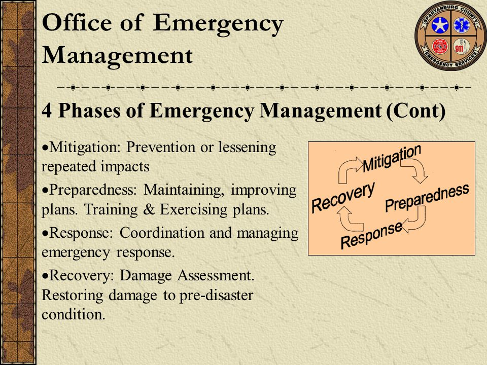  Mitigation: Prevention or lessening repeated impacts  Preparedness: Maintaining, improving plans. Training & Exercising plans.  Response: Coordina