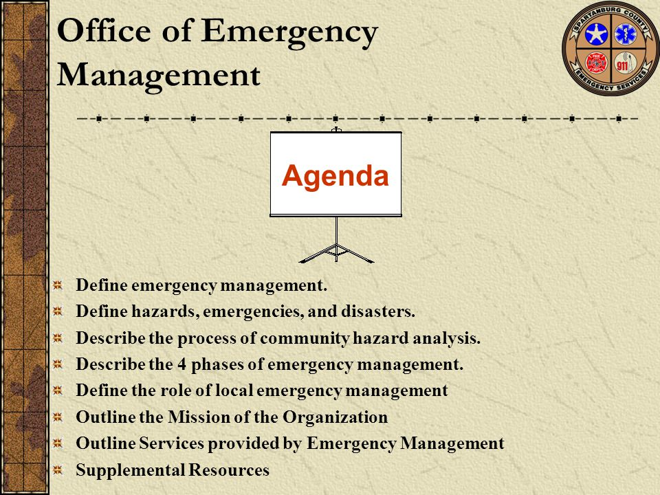Define emergency management. Define hazards, emergencies, and disasters. Describe the process of community hazard analysis. Describe the 4 phases of e