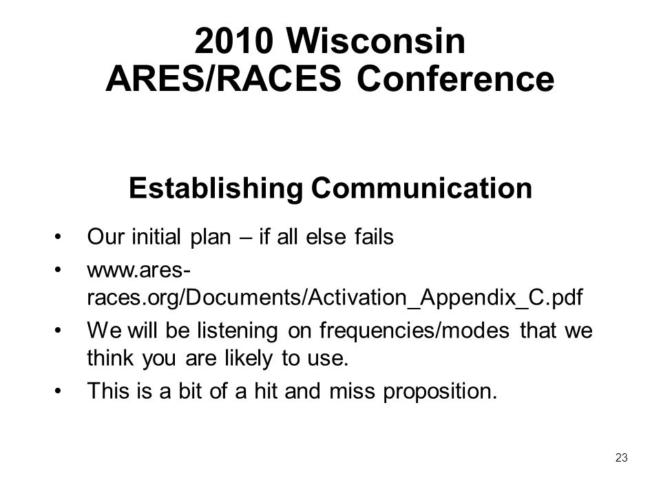 2010 Wisconsin ARES/RACES Conference Establishing Communication Our initial plan – if all else fails www.ares- races.org/Documents/Activation_Appendix_C.pdf We will be listening on frequencies/modes that we think you are likely to use.
