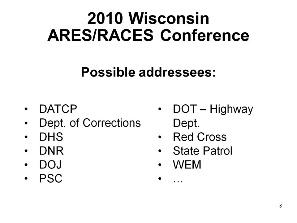 2010 Wisconsin ARES/RACES Conference Possible addressees: 8