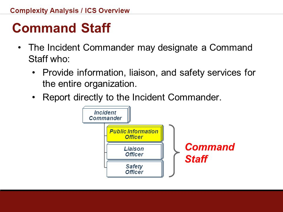 Complexity Analysis / ICS Overview ICS Benefits Meets the needs of incidents of any kind or size. Allows personnel from a variety of agencies to meld