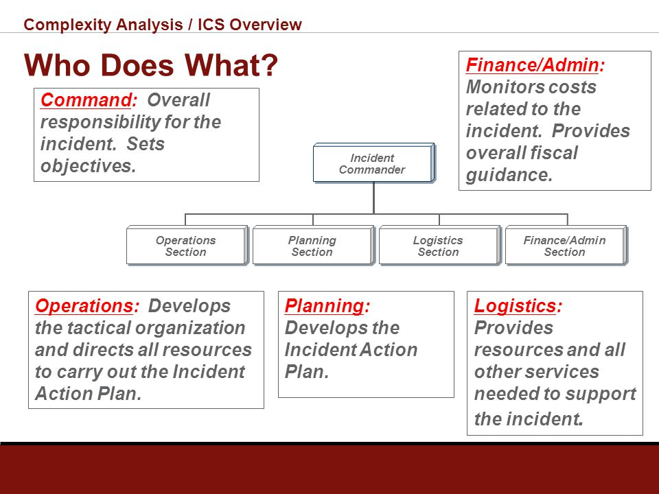Complexity Analysis / ICS Overview Command Staff The Incident Commander may designate a Command Staff who: Provide information, liaison, and safety se