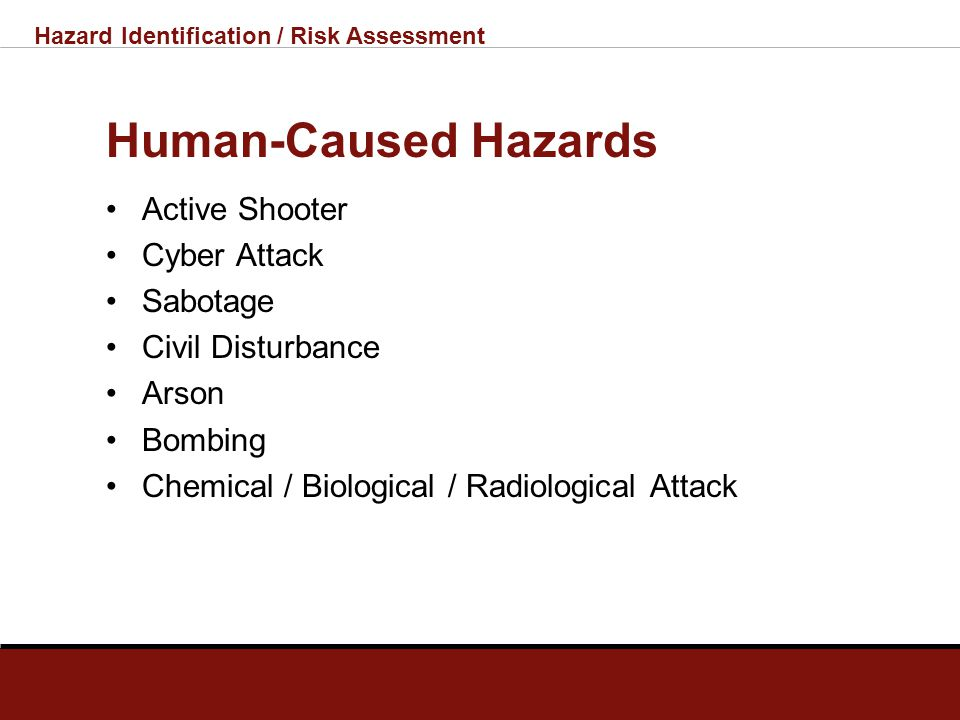 Hazard Identification / Risk Assessment Technological Hazards Hazardous Materials Incident Public Utility Outage Telecommunications System Outage Leve